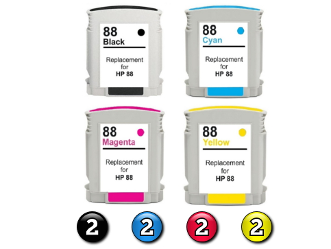 8 Pack Combo Compatible HP88XL (2BK/2C/2M/2Y) ink cartridges